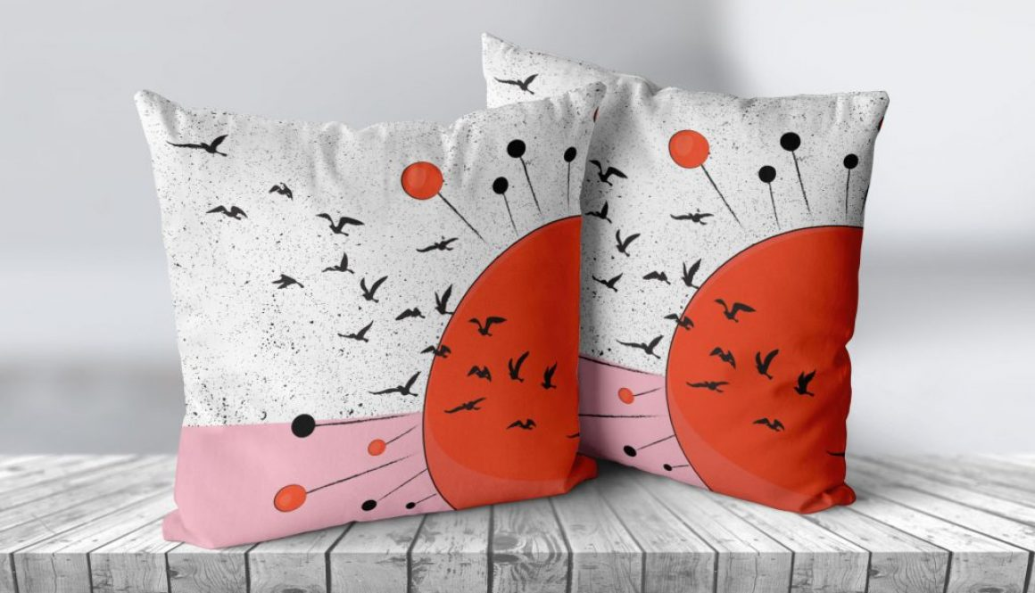 2 Cushions On Wood - 0001 Cushion